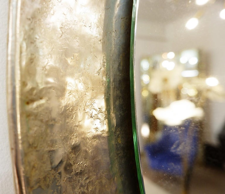 Mid-20th Century Nickel-Plated Hand-Hammered Bragalini Mirror, Italy, 1960s For Sale
