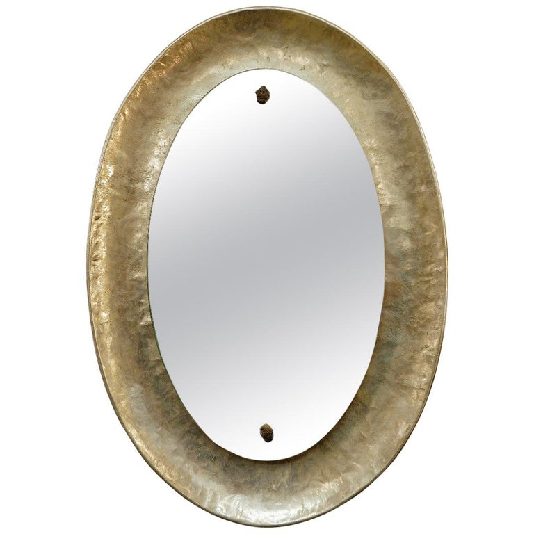 Nickel-Plated Hand-Hammered Bragalini Mirror, Italy, 1960s For Sale