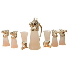 Nickel Plated Horsehead Decanter and Set of '6' Glasses