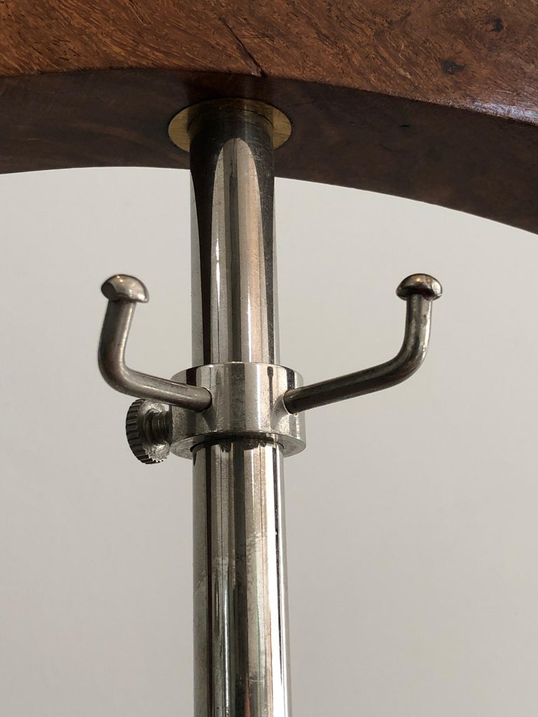 Nickel-Plated Metal and Wood Nightstand Valet, French Work, circa 1970 For Sale 6
