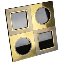 Nickel-Plated Metal, Brass and Brown Velvet 1970s Pictures Frame