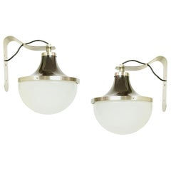 """Nickel-Plated & Painted Metal, Glass 1960s """"PI"""" Sconces by S. Mazza for Artemide"""