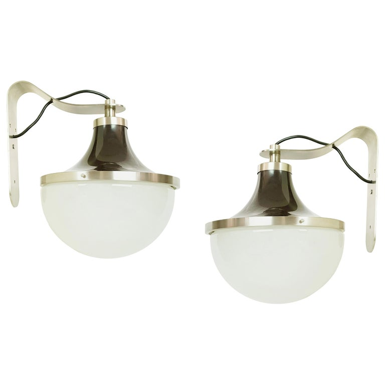 """Nickel-Plated & Painted Metal, Glass 1960s """"PI"""" Sconces by S. Mazza for Artemide For Sale"""