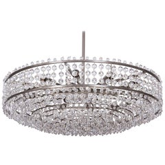 Nickel-Plated Round Chandelier with Facetted Round Glass Drops
