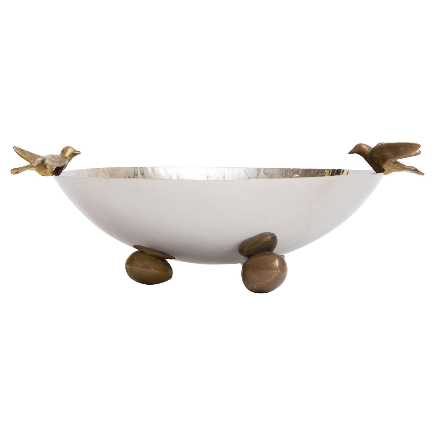 Nickel Silver and Brass Dove Bowl with Ball Feet