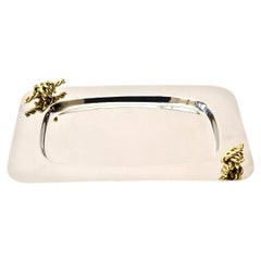 Nickel Silver and Brass Rope Tray Barware Signed Italian