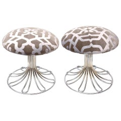 Nickel Silver and Upholstered Stools Vintage, Italian