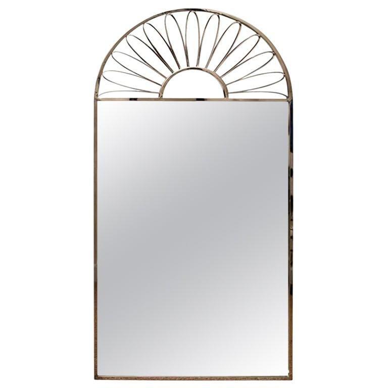 Nickel Silver Mirror Vintage Italian For Sale