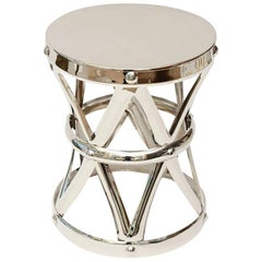 Nickel Silver X-Stool and Side Table Vintage