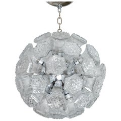 Nickel Sputnik Chandelier Featuring Hexagonal Faceted Glass Shades