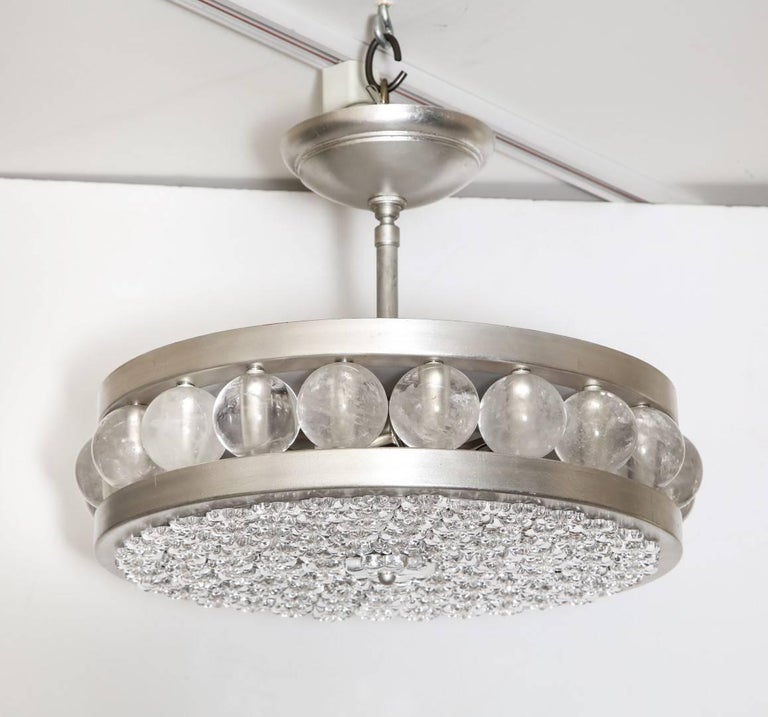 Contemporary The Nickel Tambour/Decazes Flush Mount by David Duncan For Sale