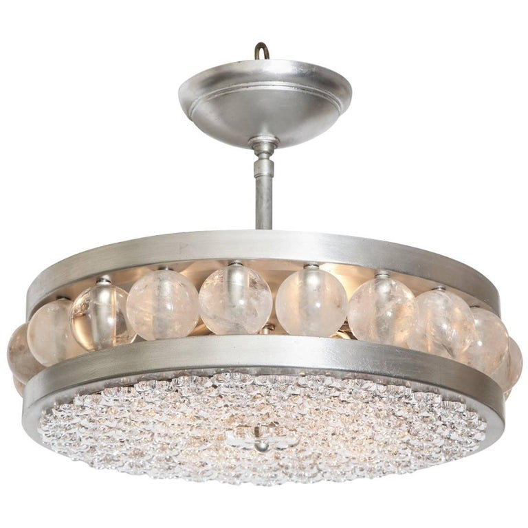 The Nickel Tambour/Decazes Flush Mount by David Duncan For Sale