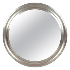 Nickeled & Black Metal 1970s Round Wall Mirror Narcisso by S. Mazza for Artemide