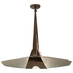 Nickeled Brass Ceiling Pendant by Max Ingrand for Fontana Arte, Italy circa 1950