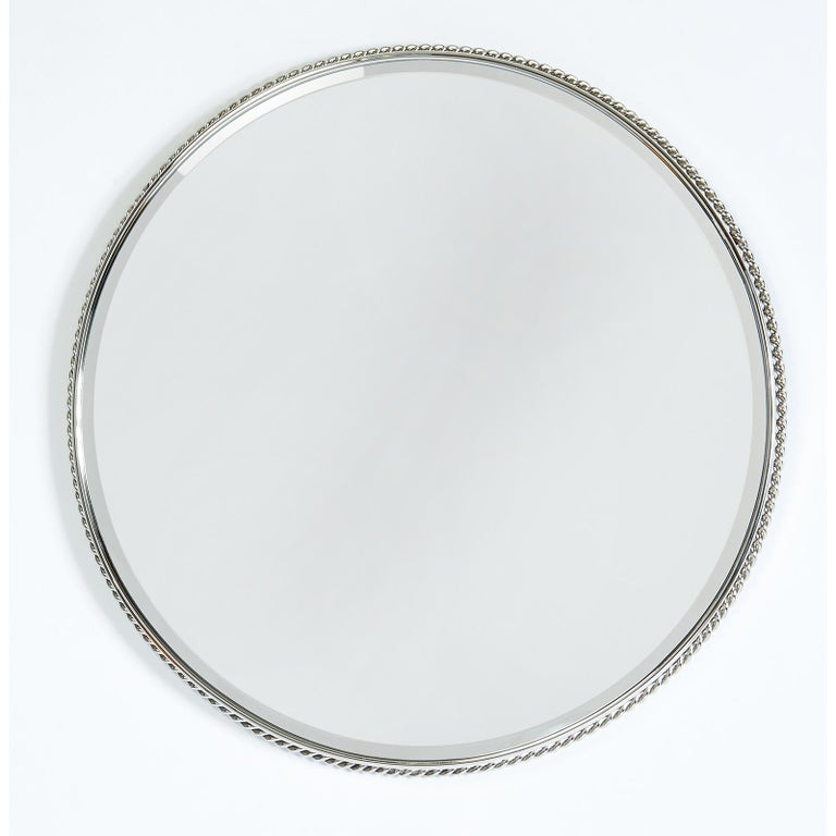 Mid-Century Modern Nickeled Bronze Mirror with Twisted Rope Decor, France, 1950s For Sale