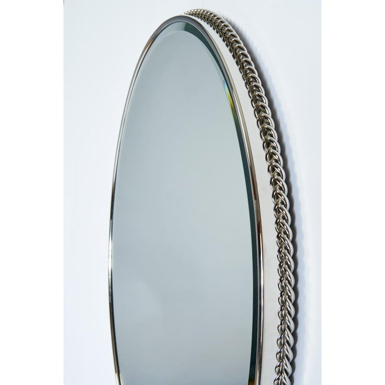 Nickeled Bronze Mirror with Twisted Rope Decor, France, 1950s In Excellent Condition For Sale In New York, NY