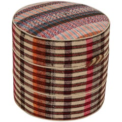 Nickey Kehoe Collection Small Round Hassock in Vintage Plaid Fabric
