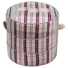 Nickey Kehoe Collection Small Round Hassock Upholstered in Vintage Fabric