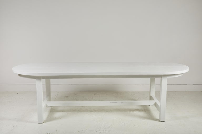 Nickey Kehoe collection white painted oval harvest dining table.