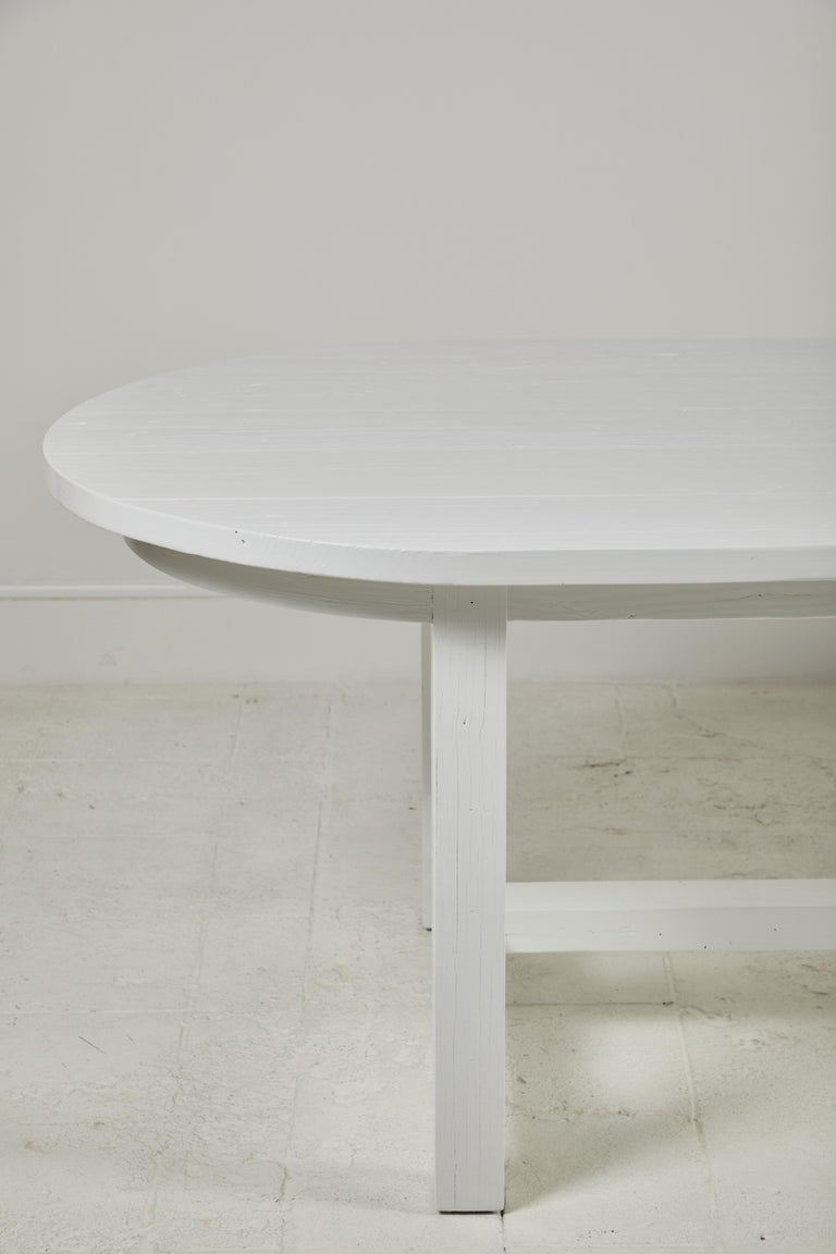 Nickey Kehoe Collection White Painted Oval Harvest Dining Table In New Condition For Sale In Los Angeles, CA