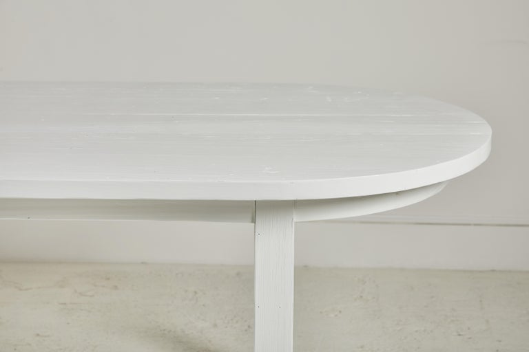 Contemporary Nickey Kehoe Collection White Painted Oval Harvest Dining Table For Sale