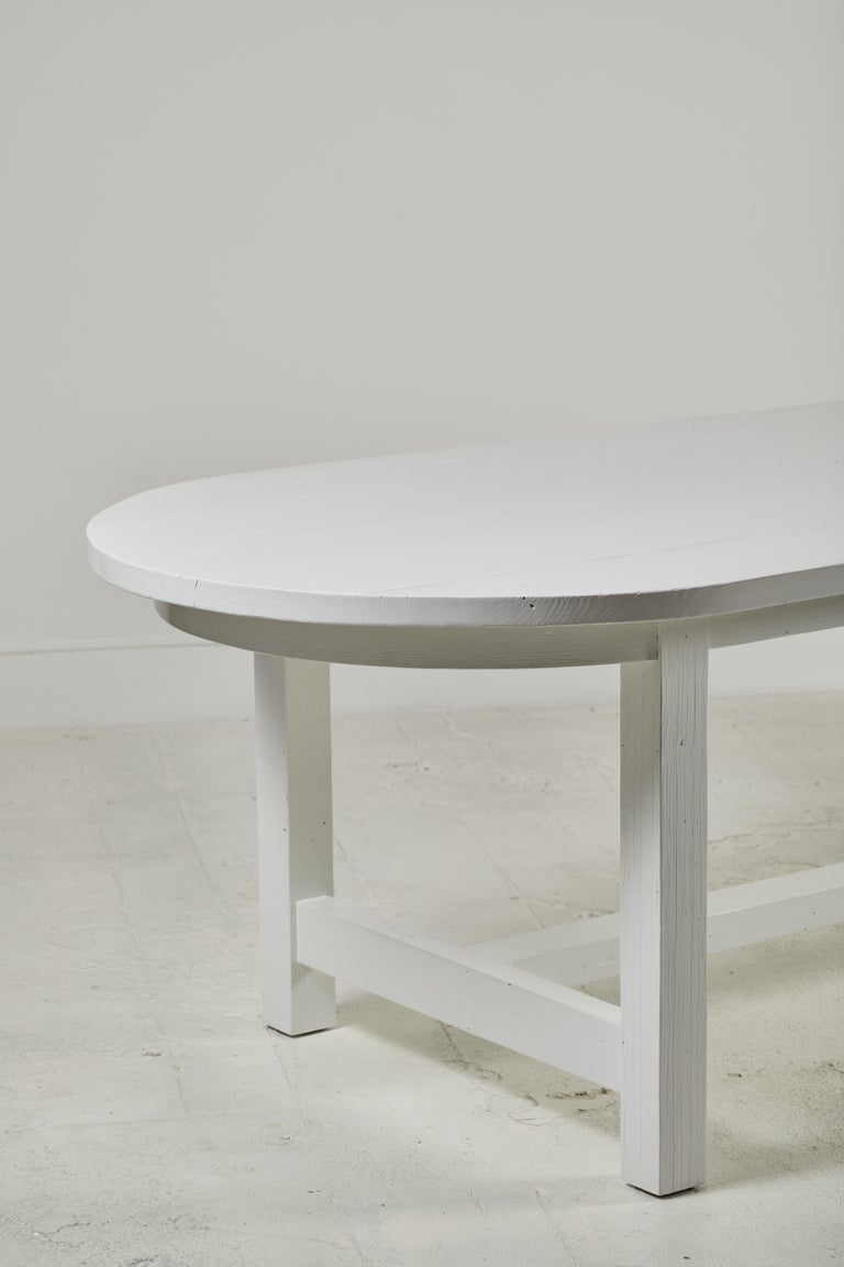 Nickey Kehoe Collection White Painted Oval Harvest Dining Table For Sale 1