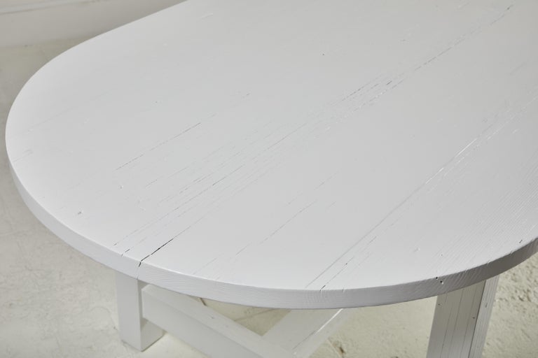 Nickey Kehoe Collection White Painted Oval Harvest Dining Table For Sale 2