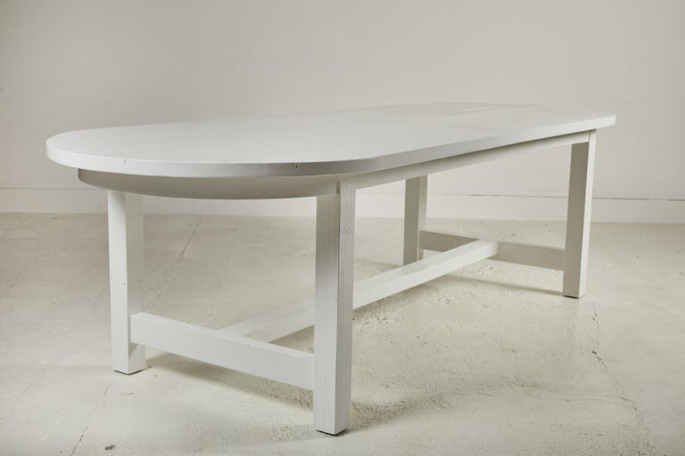 Nickey Kehoe Collection White Painted Oval Harvest Dining Table For Sale 3