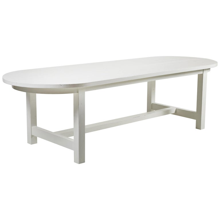 Nickey Kehoe Collection White Painted Oval Harvest Dining Table For Sale