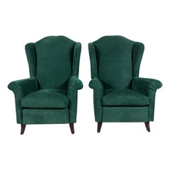 Nickey Kehoe Wingback Chair Upholstered in Green Suede