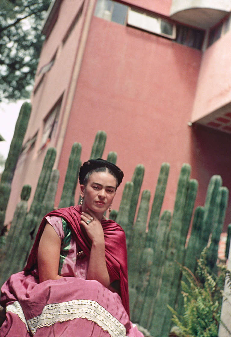 Nickolas Muray Portrait Photograph - Frida by Organ Cactus Fence