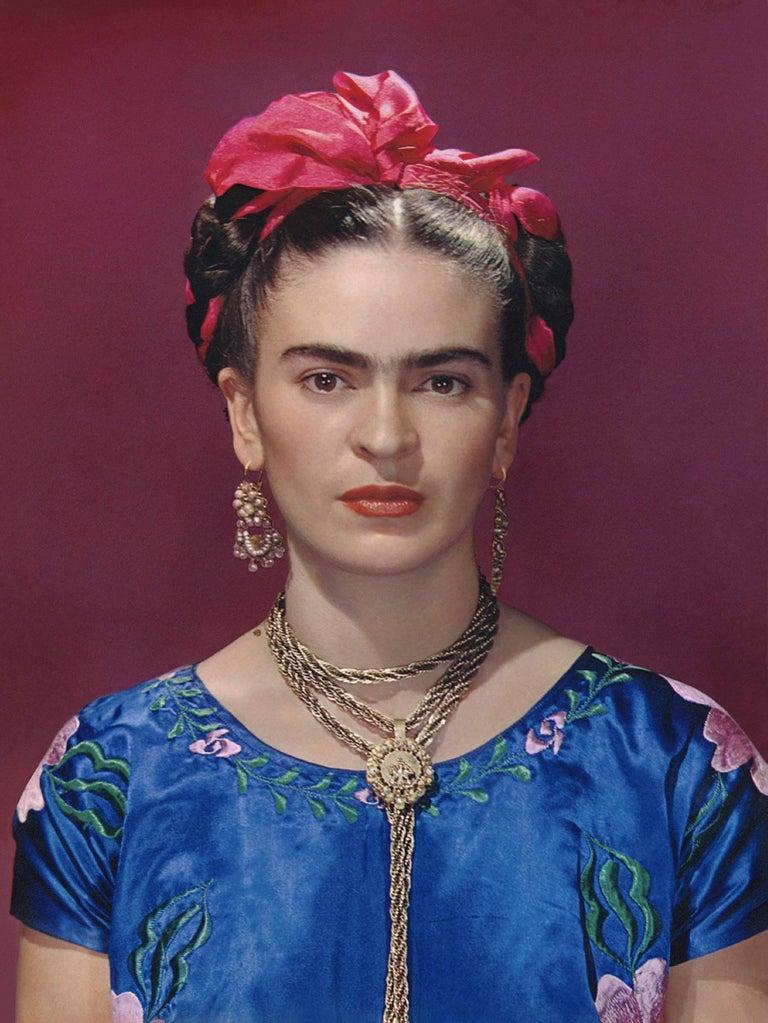 Nickolas Muray Color Photograph - Frida Kahlo in Blue Silk Dress