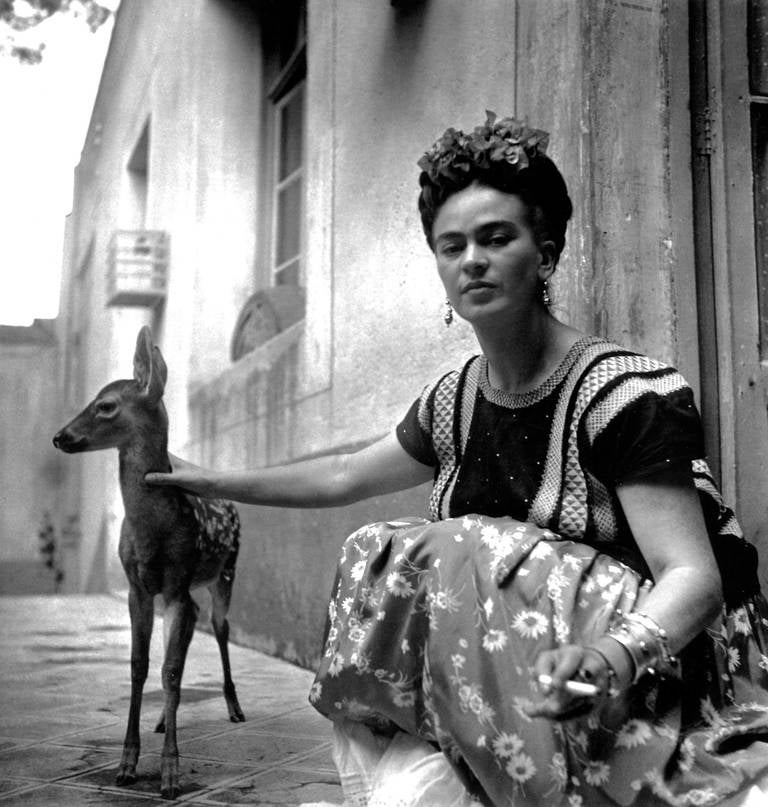 Nickolas Muray Black and White Photograph - Frida with Granizo