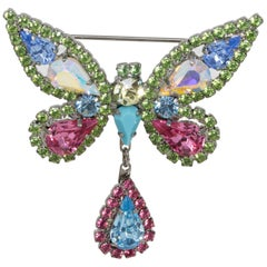Nicky Butler Embellished Crystal Butterfly Pin Brooch in Silver