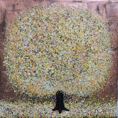 Honey, Nicky Chubb, Tree art, Nature, Yellow, Affordable art, Mixed media on can