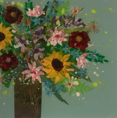 Nicky Chubb, Happy Day II, Original Collage, Affordable Art, Floral Art