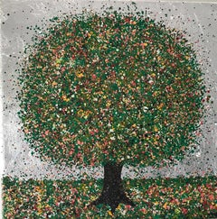 Nicky Chubb, A Beautiful Silver Summer Day, Original Tree Painting, Pop Art