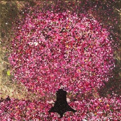Nicky Chubb, A Little Happy Cherry Tree, Original Pop Art Painting, Tree Art