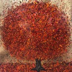Nicky Chubb, Autumn Leaves Dancing, Red Art, Tree Art, Warm Art