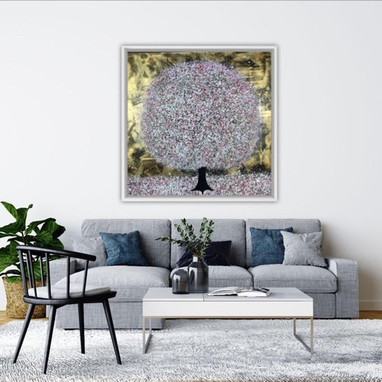 Nicky Chubb Everlasting Spring Original Landscape Painting Acrylic Paint on Canvas Canvas Size: H 100cm x W 100cm x D 4cm Sold Unframed  Spring Evening Light is an original painting by Nicky Chubb. The pink tones are made evermore vibrant by the