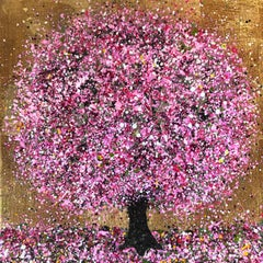 Nicky Chubb, Happy Pink, Bright Tree Art, Affordable Contemporary Painting