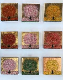 Nicky Chubb, Seasons, Original Contemporary Paintings, Tree Art, Nine Piece Art