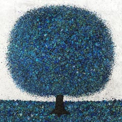 Nicky Chubb, Serene Blue, Original Pop Art Painting, Nature Art, Tree Painting