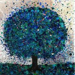 Nicky Chubb, Summer Morning Glitters, Original Art, Landscape, Blue Painting