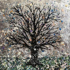 Nicky Chubb, Winter Tree, Contemporary Landscape Painting, Spring Art,Silver Art