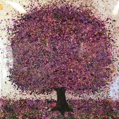 Silver Lilac Moning- Nicky Chubb, mixed media on canvas, lanscape painting