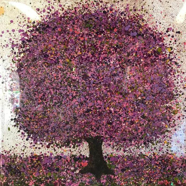 Silver Lilac Moning- Nicky Chubb, mixed media on canvas, lanscape painting - Painting by Nicky Chubb