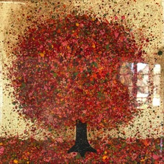 Warm Autumn Evening- Nicky Chubb, mixed media on canvas, lansdcape, abstacted