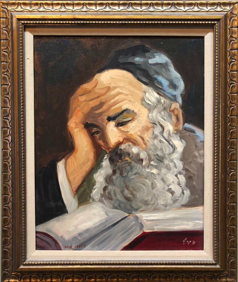 Portrait of a Rabbi Israeli judaica Oil Painting - Brown Portrait Painting by Nicky Imber