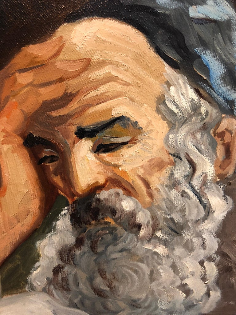 Portrait of a Rabbi Israeli judaica Oil Painting For Sale 2
